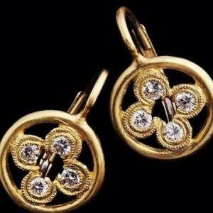 CATHY CARMENDY 18K Gold Diamond Circle Earrings
